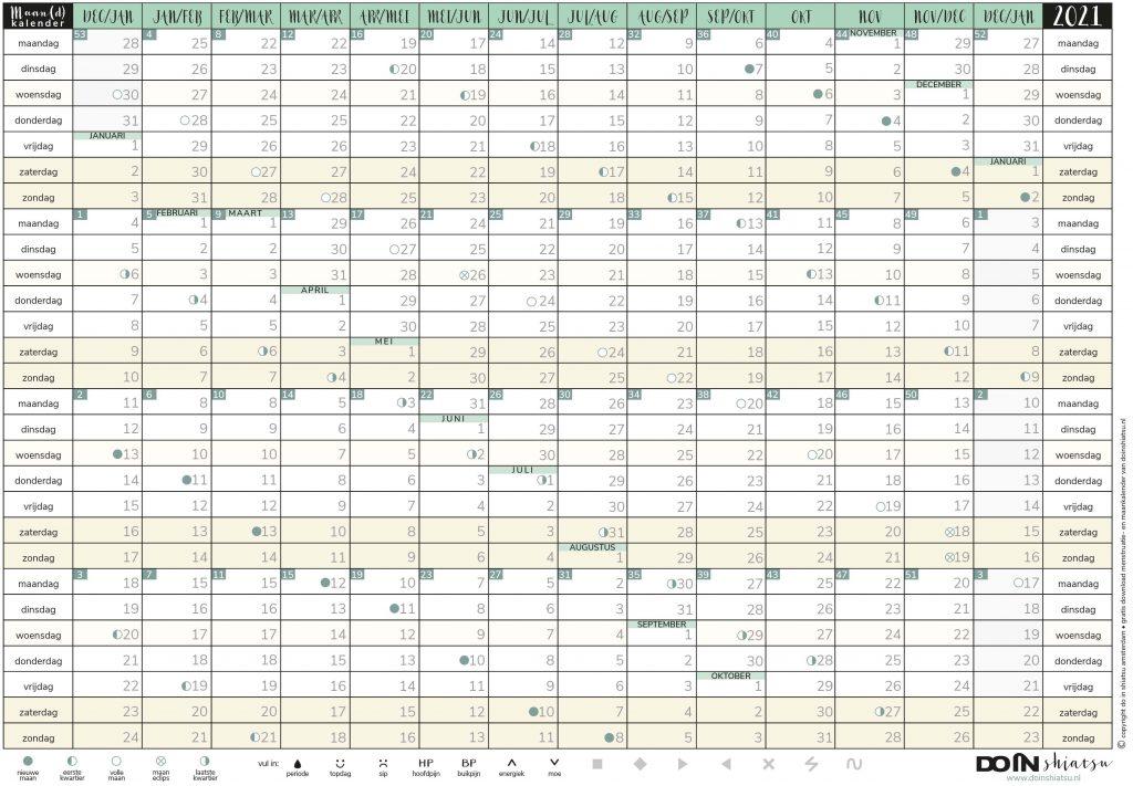 maan en menstruatiekalender