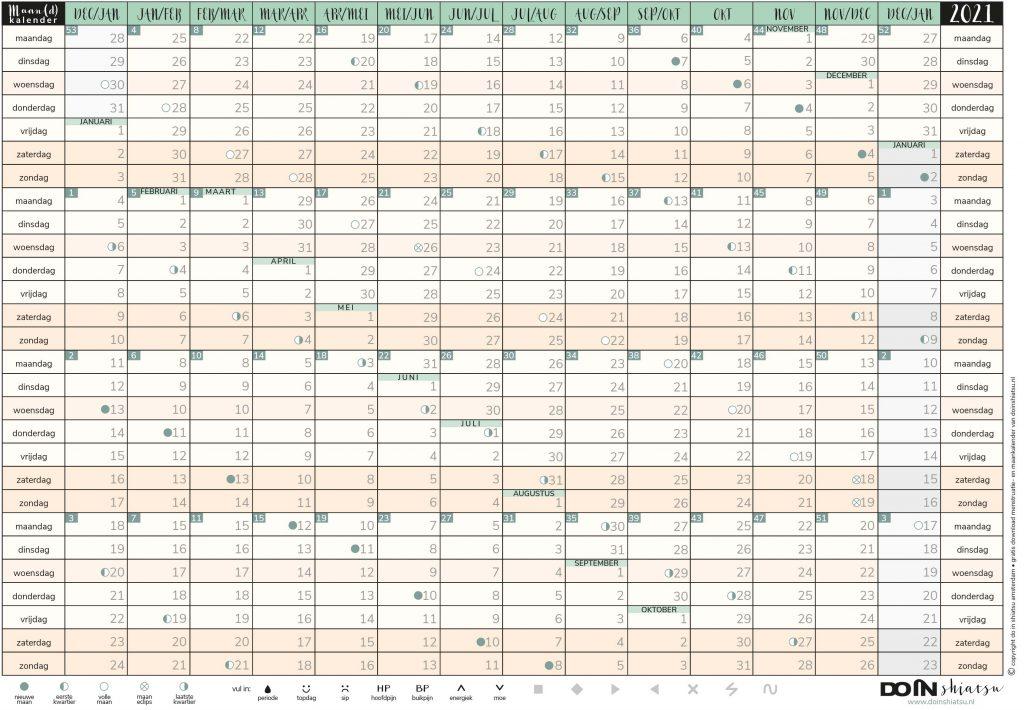 maan(d) kalender menstruatie kalender