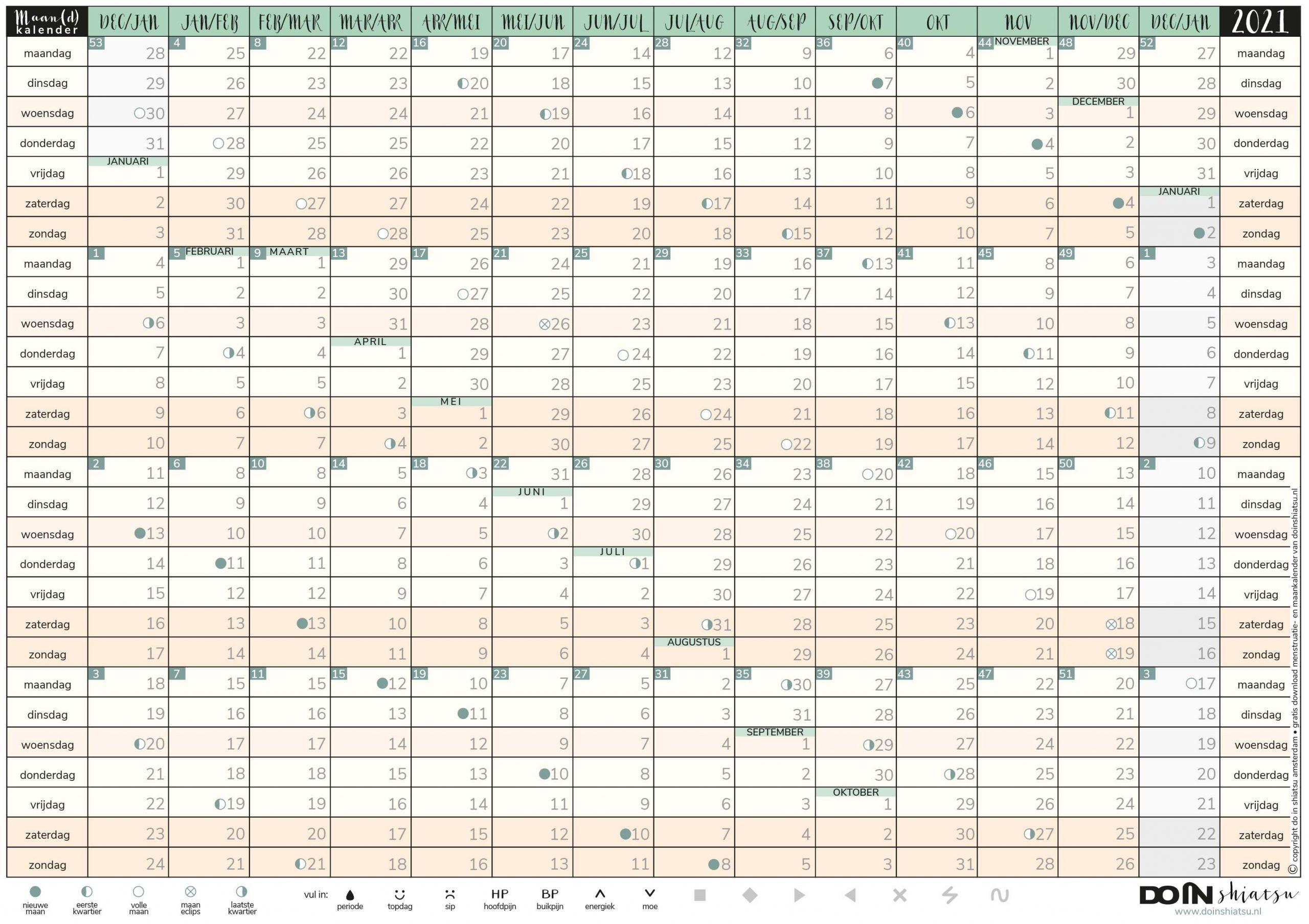maan(d)kalender, menstruatie kalender 2021, maankalender, maandkalender, men-struatie, tool, wonder, menstruatieklachten